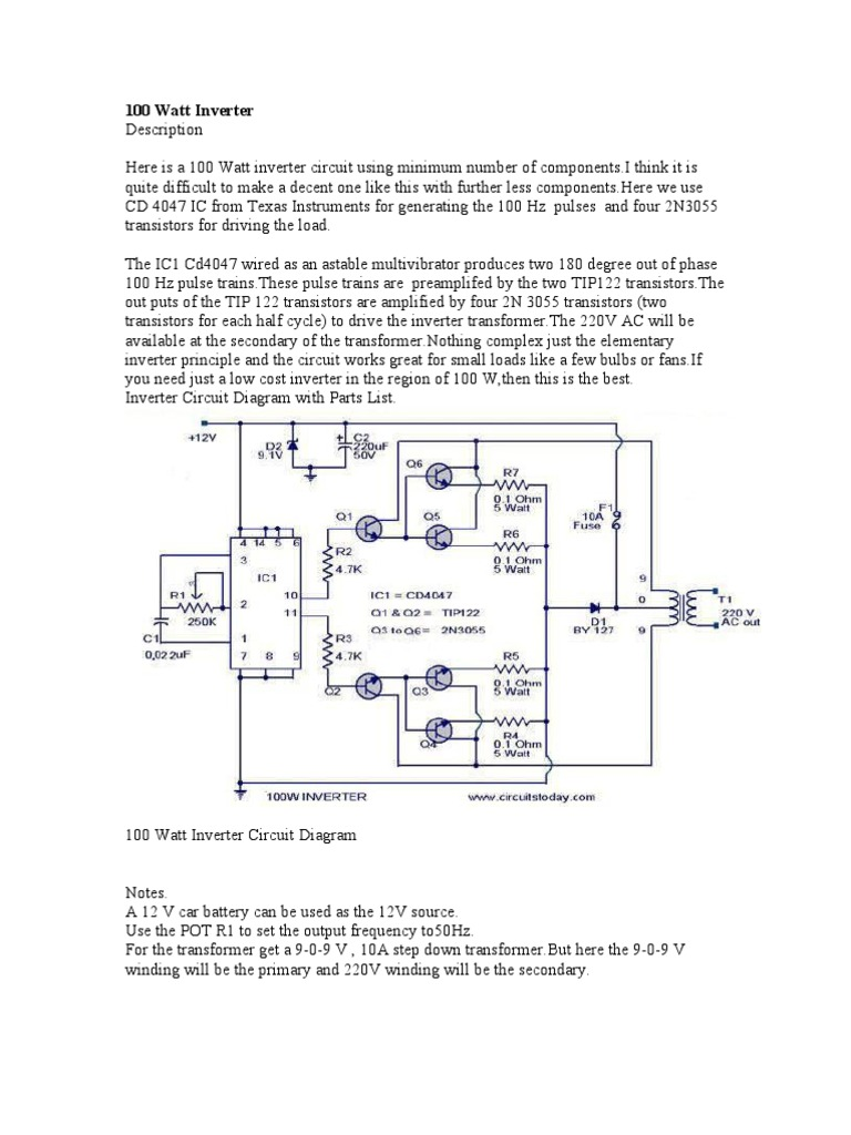 100 W Inverter Circuit Diagram Wiring Library Power Amplifier