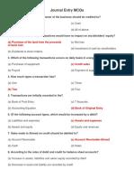 Journal, Ledger, Trail Balance and Finnancial Statement MCQs