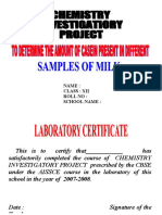 Class 12 Chemistry Project on Testing the Amount of Casein in Milk (1)