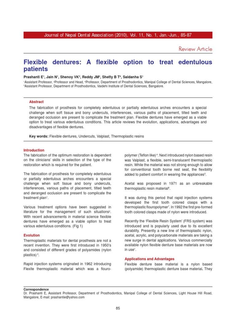 Flexible dentures A fl exible option to treat edentulous