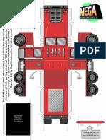 28mm Semi Truck Cab Paper Vehicle Miniature