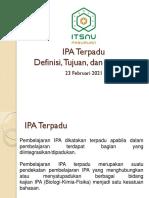 1. 2 Definisi, Tujuan, Manfaat dan Model IPA Terpadu