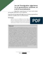 Alain Battegay - Experiences de l'immigration algerienne en France