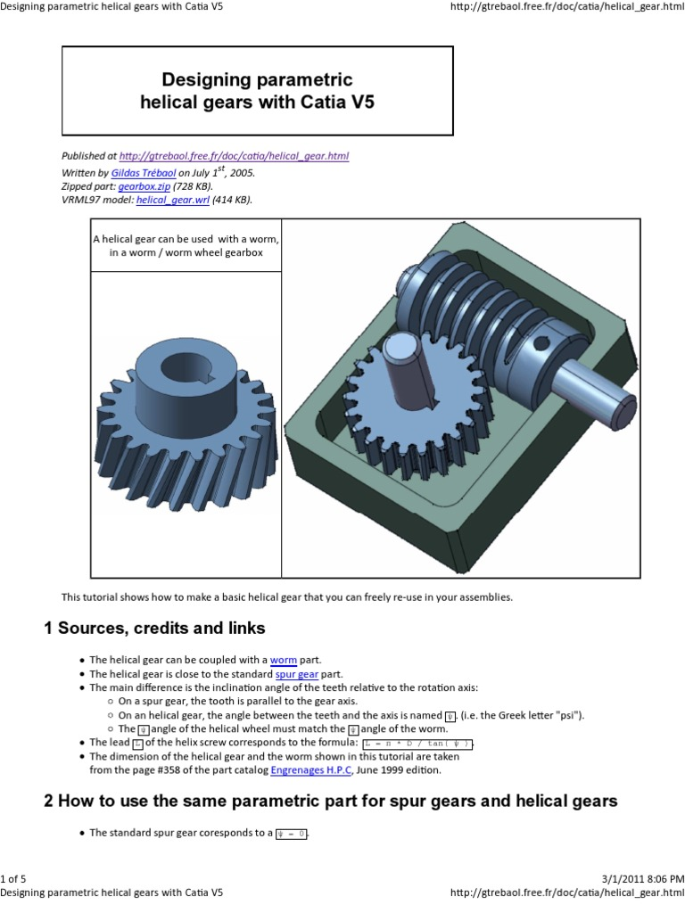 Designing parametric helical gears with Catia V5 | Helix | Gear