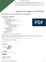 Les images sous MATLAB - Tutoriel - Jérôme Briot