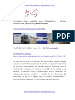 Seminario Online Fotovoltaica - Diseño, Operación y Mantenimiento