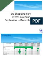 Events calendar Sept - Dec- oradea