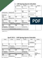LHS 2011 Spring Sports Schedule