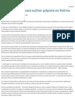 Una Nueva Amenaza Militar Golpista en Bolivia – Rebelion