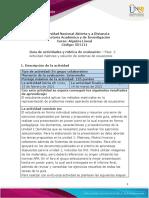 Guía de actividades y rúbrica de evaluación – Unidad 1 – Fase  2 Actividad matrices y solución de sistemas de ecuaciones