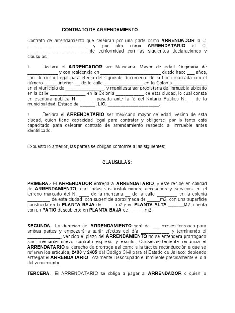 Formato contrato arrendamiento for Contrato de arrendamiento de oficina
