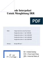 Hitung IRR dgn Interpolasi