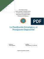 La Planeación Estratégica Y EL Presupuesto Empresarial