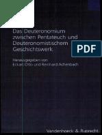 Achenbach - Otto (Hrsg.) - Das Deuteronomium Zwischen Pentateuch Und Deuteronomistischem Geschichtswerk