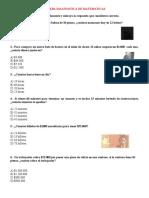 PRUEBA DIAGNOSTICA DE MATEMATICAS 4° 2021