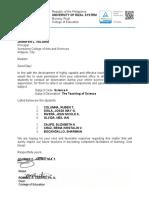 Science 4- Letter for Observation Riveras Group