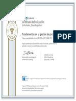 CertificadoDeFinalizacion_Fundamentos de la gestion de proyectos Etica