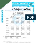 Ficha Palabras Esdrujulas Con Tilde Para Cuarto de Primaria