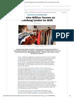 Textilien Als Wegwerfware_ Über eine Million Tonnen an Kleidung landen im Müll