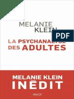 Mélanie Klein – La Psychanalyse Des Adultes Conférences Et Séminaires Inédits (2021)