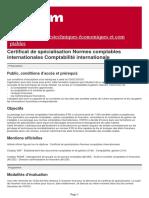 Certificat de Specialisation Normes Comptables Internationales Comptabilite Internationale