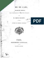 Poème de Çabi en dialecte chelha texte, transcription et traduction française _ M. René Basset.