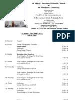 3. Schedule of Divine Services - March, 2011