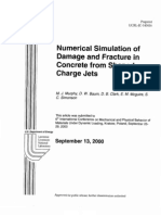 numerical simulation of damage and fracture in concrete from shaped charge jets