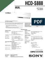 Sony HCD-S888 Service Manual (P.N. - 987720505)