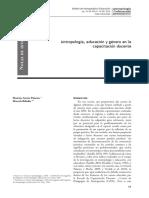 Antropología, educación y género en la capacitación docente