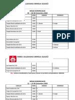 MISAS DOMINICALES DICIEMBRE 2020