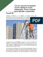 EsSalud Pone en Marcha Hospitales de Construcción Rápida en Lima