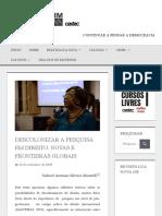 Descolonizar a Pesquisa Em Direito Notas e Fronteiras Globais