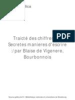 Traicté Des Chiffres Ou Secretes [...]Vigenère Blaise Bpt6k94009991