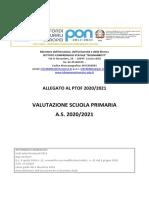 ALLEGATO AL PTOF 2020/2021 VALUTAZIONE SCUOLA PRIMARIA A.S. 2020/2021