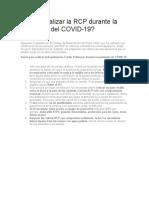 Cómo realizar la RCP durante la pandemia del COVID