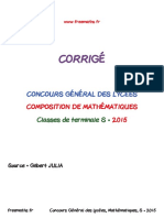 Concours General Mathematiques 2015 Corrige