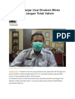 Kadinkes Banjar Usai Divaksin Minta Masyarakat Jangan Tolak Vaksin