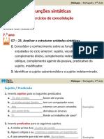 Exercícios de Funções Sintáticas - Gramática - 3º Ciclo do Ensino Básico