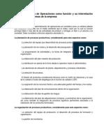 La Administración de Operaciones como función y su interrelación con otros subsistemas de la empresa