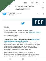 Complaint Against Twitter INDIA for Suspending LRO & DPM