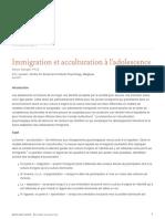 Immigration Et Acculturation a Ladolescence