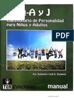 Manual EPQ-A y J Cuestionario de Personalidad para Niños y Adultos