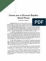 Apuntes para un Diccionario Biográfico Musical Peruano [Fénix. Revista de la Biblioteca Nacional del Perú. Nº 6, pp. 414-510. Lima, 1949]