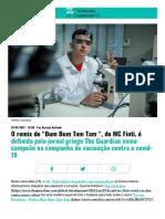 """O Remix de """"Bum Bum Tam Tam """", Do MC Fioti, é Definido Pelo Jornal Gringo the Guardian Como Campeão Na Campanha de Vacinação Contra a Covid-19 _ Kondzilla.com"""