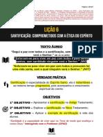 SUBSÍDIOS LIÇÃO 6 - SANTIFICAÇÃO - COMPROMETIDOS COM A ÉTICA DO ESPÍRITO - CANAL TEXTO ÁUREO
