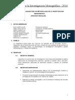 Silabo Desarrol Metodologia Investigacion Monografica 2016
