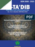 Jurnal At-Ta'dib. volume 1 nomor 3, Desember 2009-Maret 2010