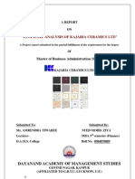PROJECT REPORT ON FINANCIAL STATEMENT ANALYSIS OF KAJARIA CERAMICS LTD.