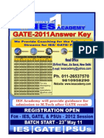 GATE 2011 Solution, Answer Key, Computer Science, IES Academy